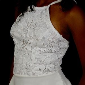 Off-White Spaghetti Strap Peplum Lace Top